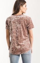 Crushed Velour V-Neck Tee