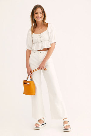 High Rise Straight Flare White Jeans