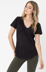 Z Supply Suede Pocket Tee - Black - BIRD BEE - 1