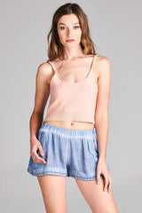 Knit Crop Top - Blush - BIRD BEE - 2