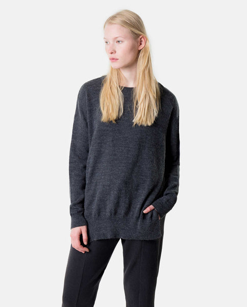 Knit Sweater with Slits - Deep Grey