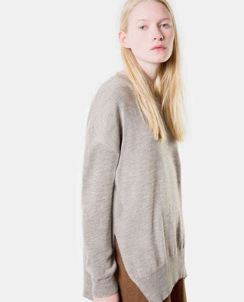 Knit Sweater with Slits - Beige