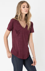 Z Supply Suede Pocket Tee - Berry - BIRD BEE - 1