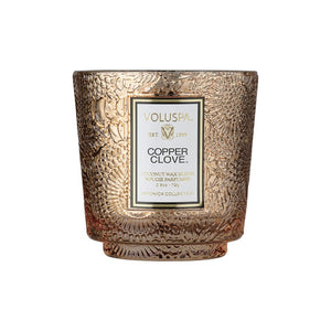Copper Clove Petite Embossed Glass Pedestal Candle