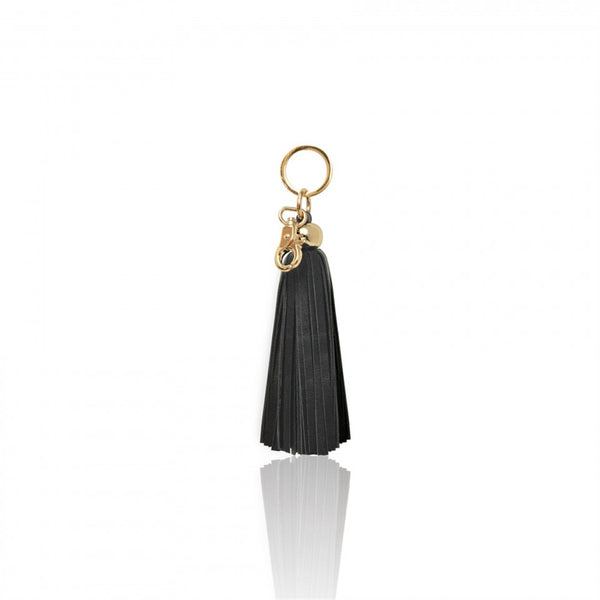 Key Chain Leather Tassel - Black