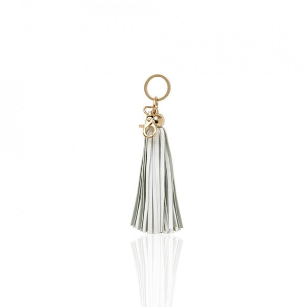 Key Chain Leather Tassel - White