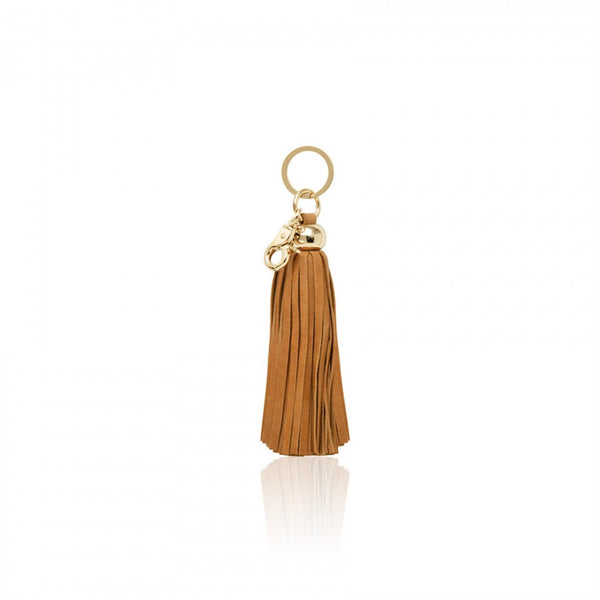 Key Chain Leather Tassel - Camel