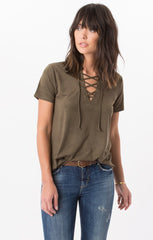 Faux Suede Lace-Up Top - Rosin