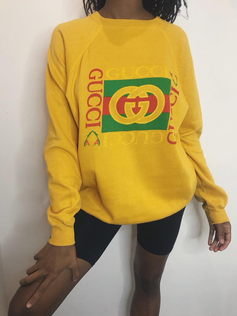 Vintage Bootleg Gucci Crew - Yellow