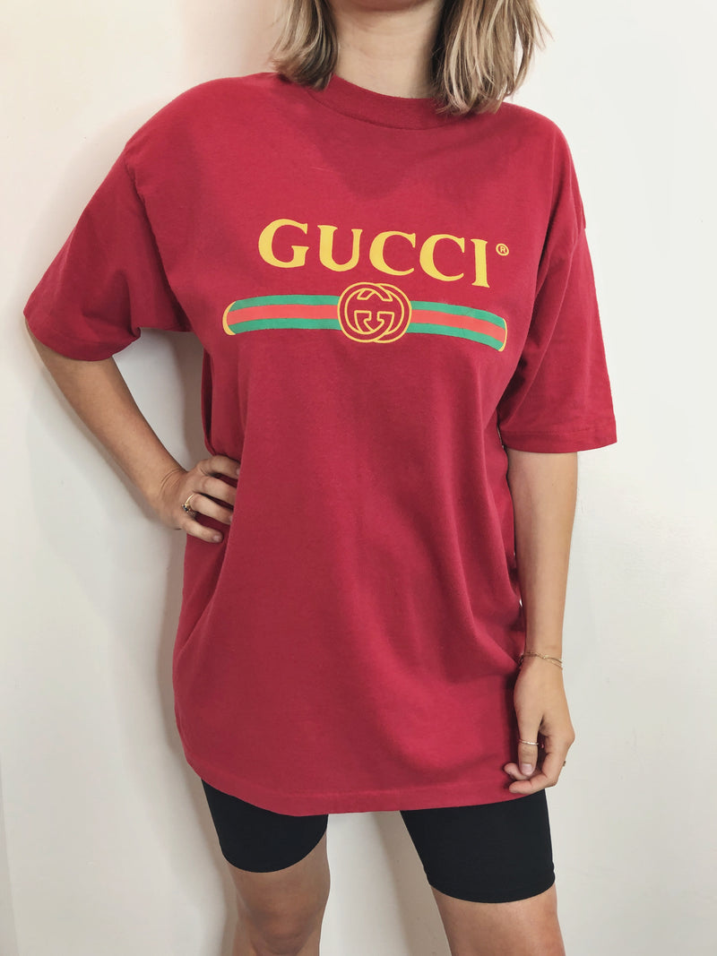 Vintage Bootleg Gucci Tee - Red