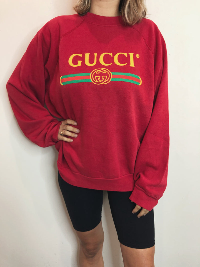 Vintage Bootleg Gucci Crew - Red