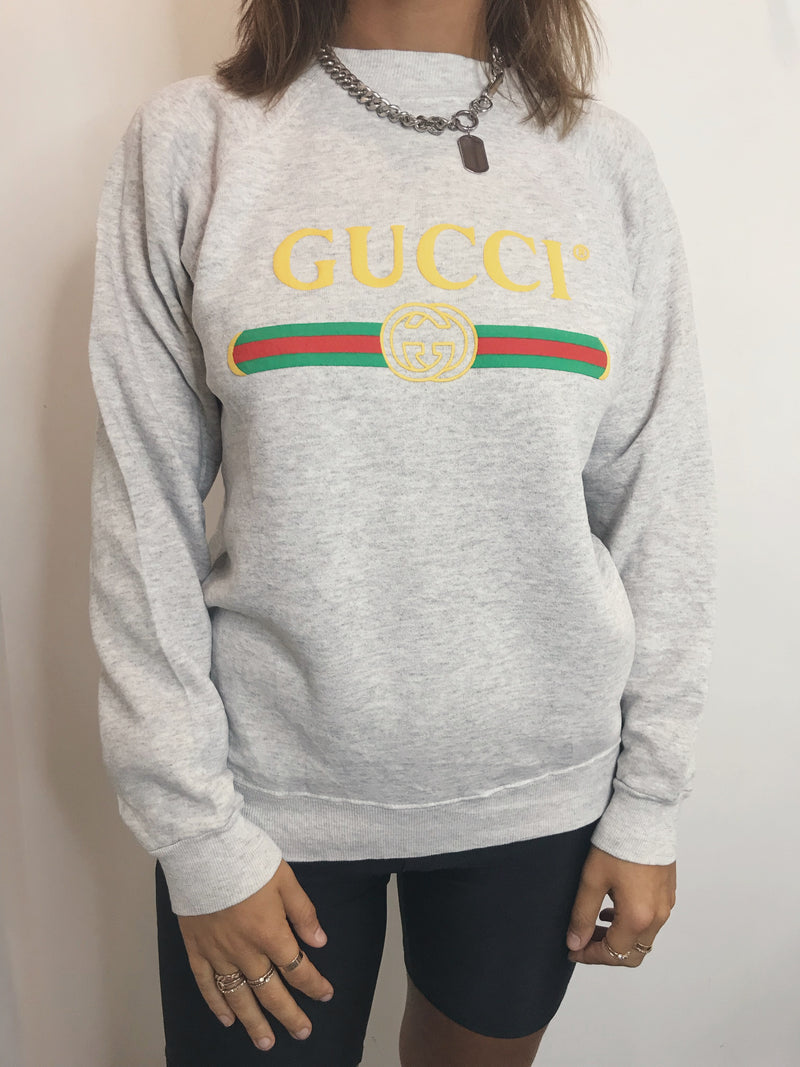 Vintage Bootleg Gucci Crew - Light Grey