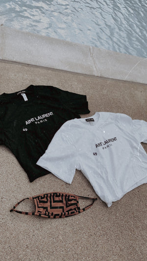 Aint Laurent Crop Tee - Black