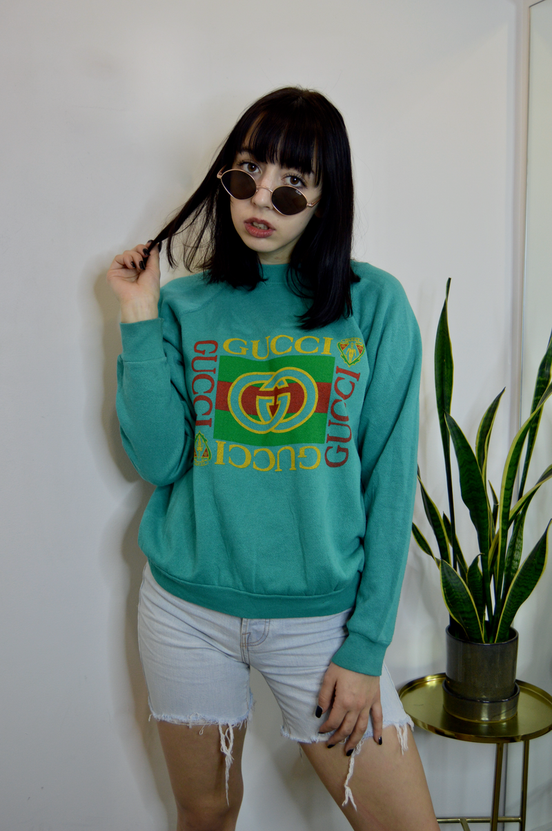 Vintage 80s Bootleg Gucci Crewneck - Turquoise