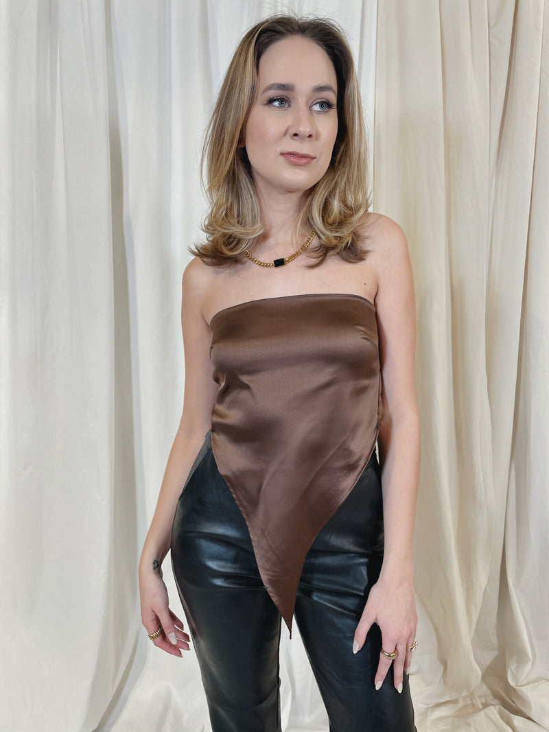 Quick Escape Satin Scarf Top - Brown