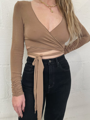 Gemma Wrap Top - Tan