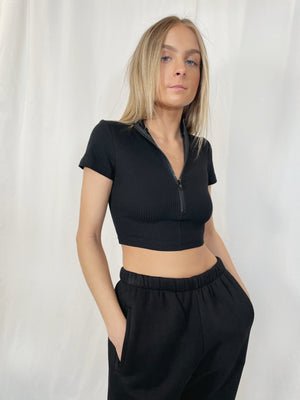 Zip It Crop Top - Black