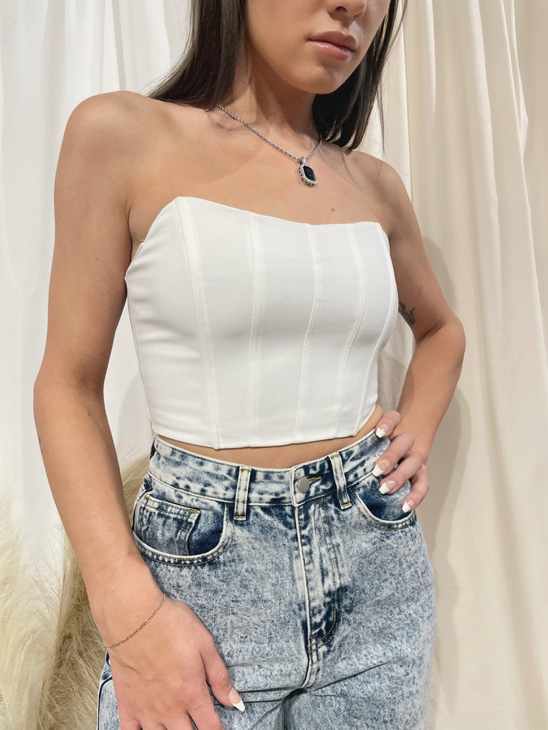 As I Am Corset Top - White