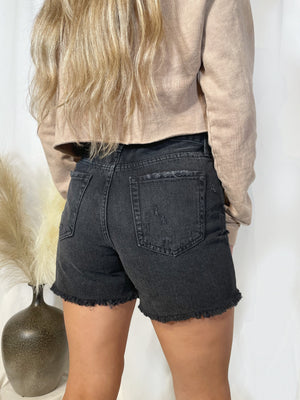 Drea High Rise Distressed Short - Washed Black