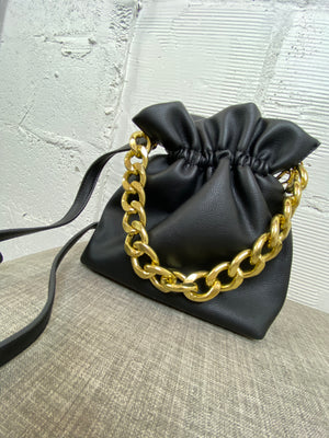 Kensie Chain Bucket Bag - Black