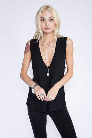 Deepest U Neck Tank - Black