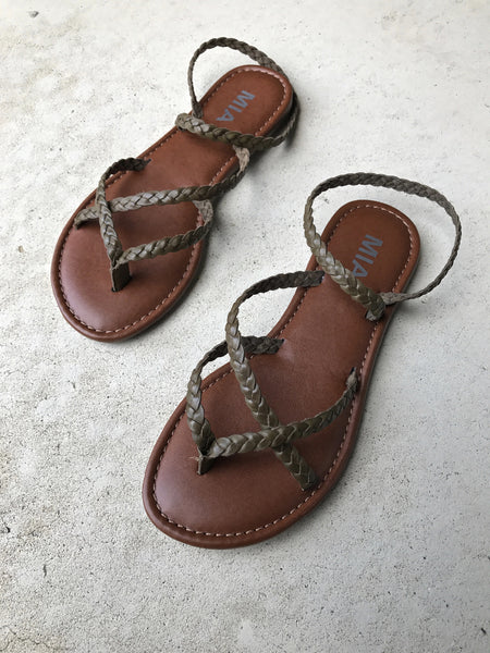 Braided Strappy Sandal - Olive