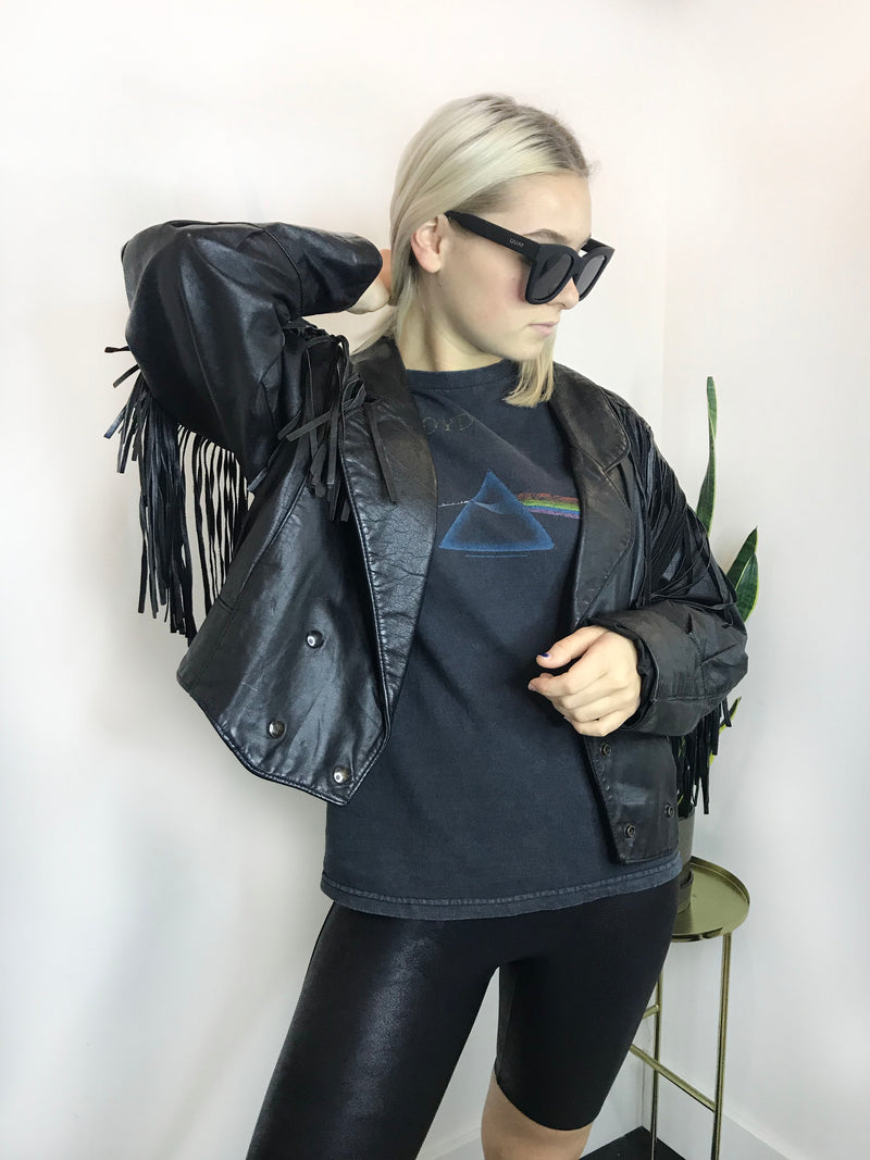 Vintage 70s Genuine Leather Fringe Jacket