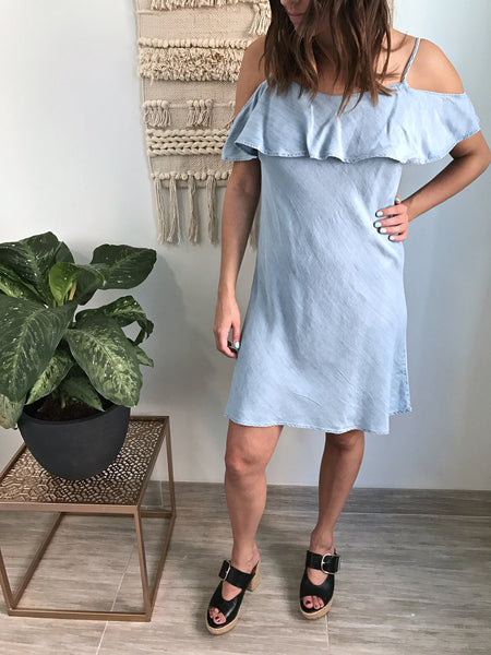 RD Chambray Cold Shoulder Dress