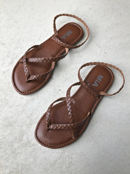 Braided Strappy Sandal - Cognac