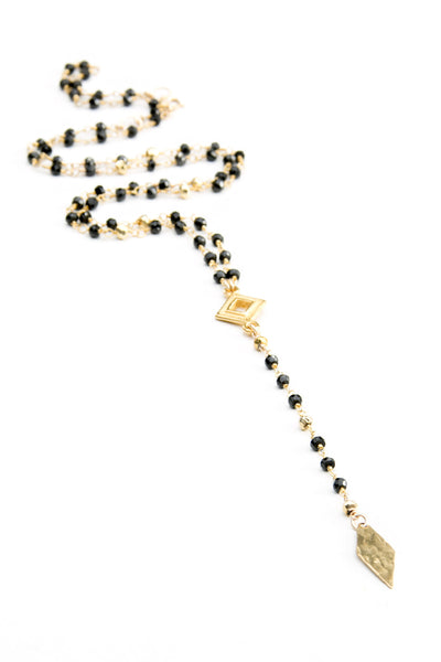 Joy Dravecky Jewelry - Rosary Stone Chain Y Necklace with Hammered Brass Diamond