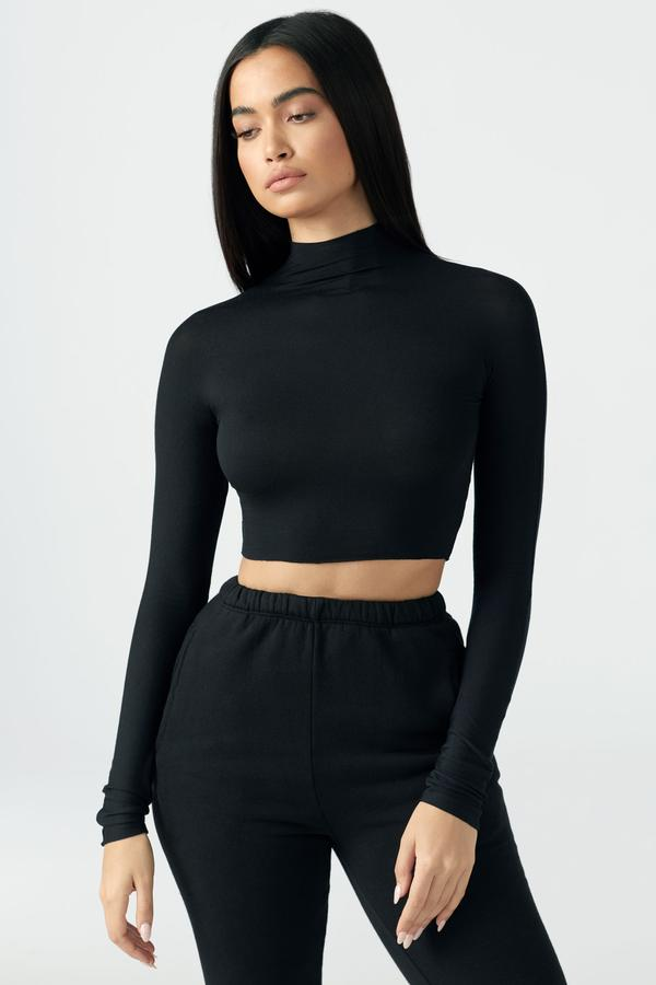 Joah Brown Cropped Mock Neck L/S - Black