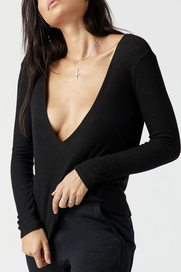 Joah Brown Deep V Long Sleeve - Black Rib