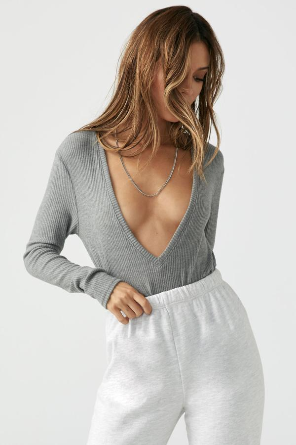 Joah Brown Deep V Long Sleeve - Grey Rib