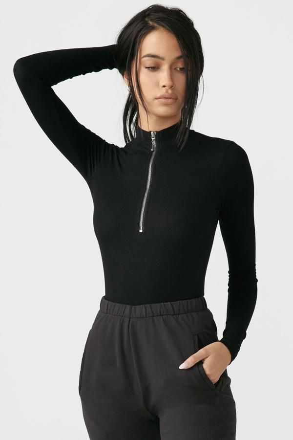 Joah Brown Half Zip Mock Neck