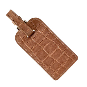 Luggage Tag - Brown Embossed Nappa Croc Leather