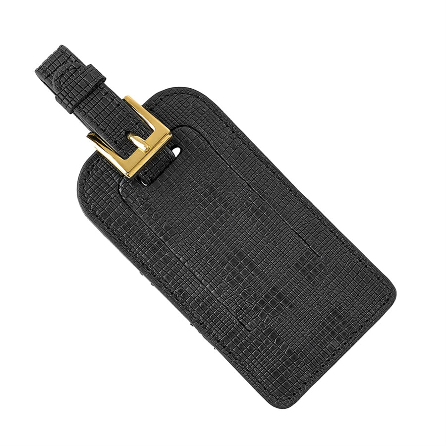 Luggage Tag - Black Embossed Plaid Leather