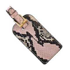 Luggage Tag - Pink Embossed Python Leather