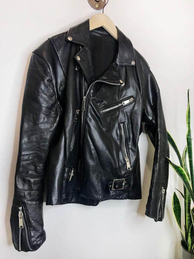 Vintage 80s Genuine Leather Biker Jacket