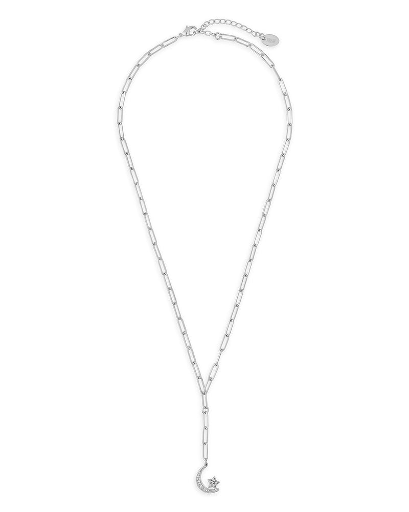 CZ Moon & Star Chain Link Necklace