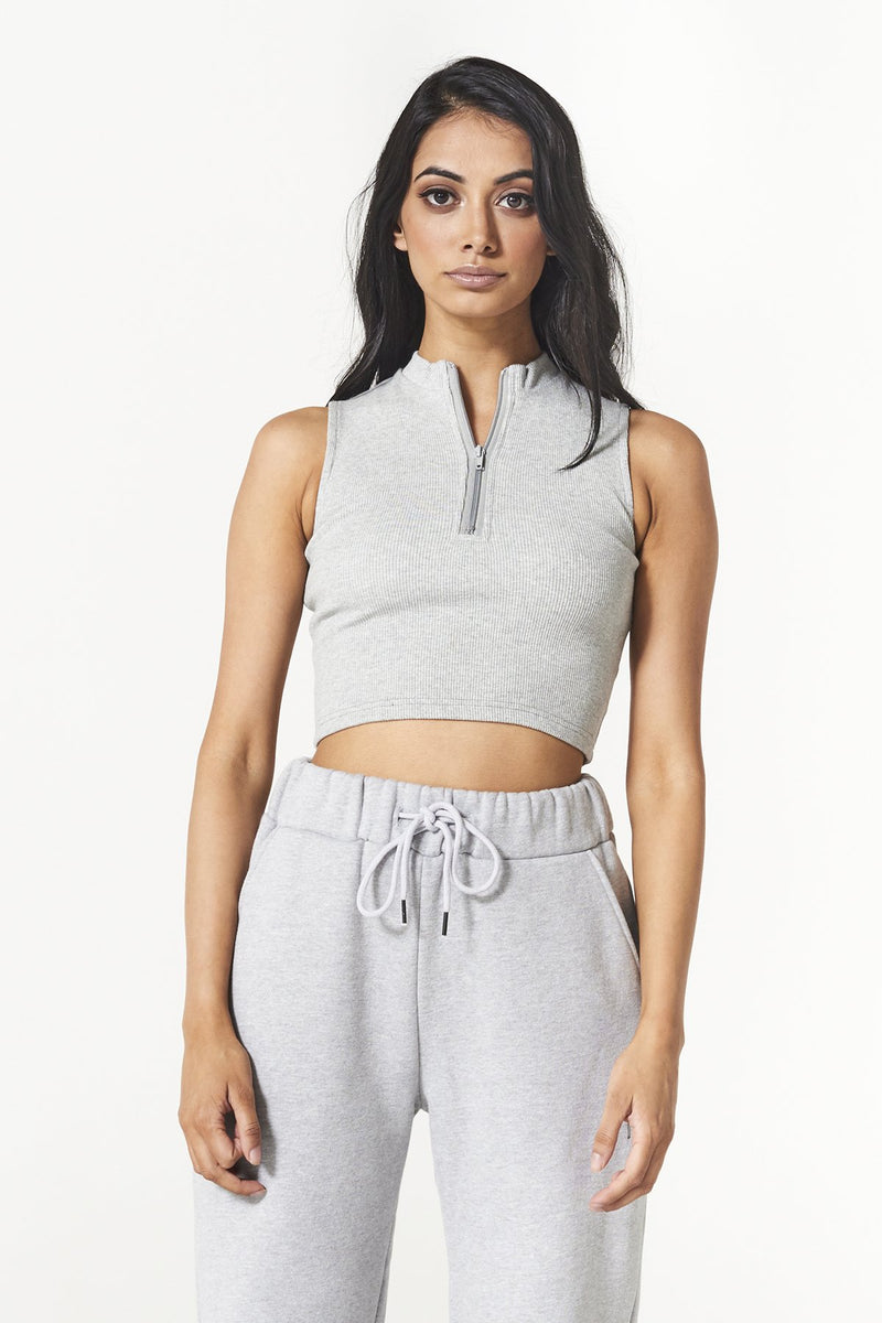 Authentic Rib Crop - Grey