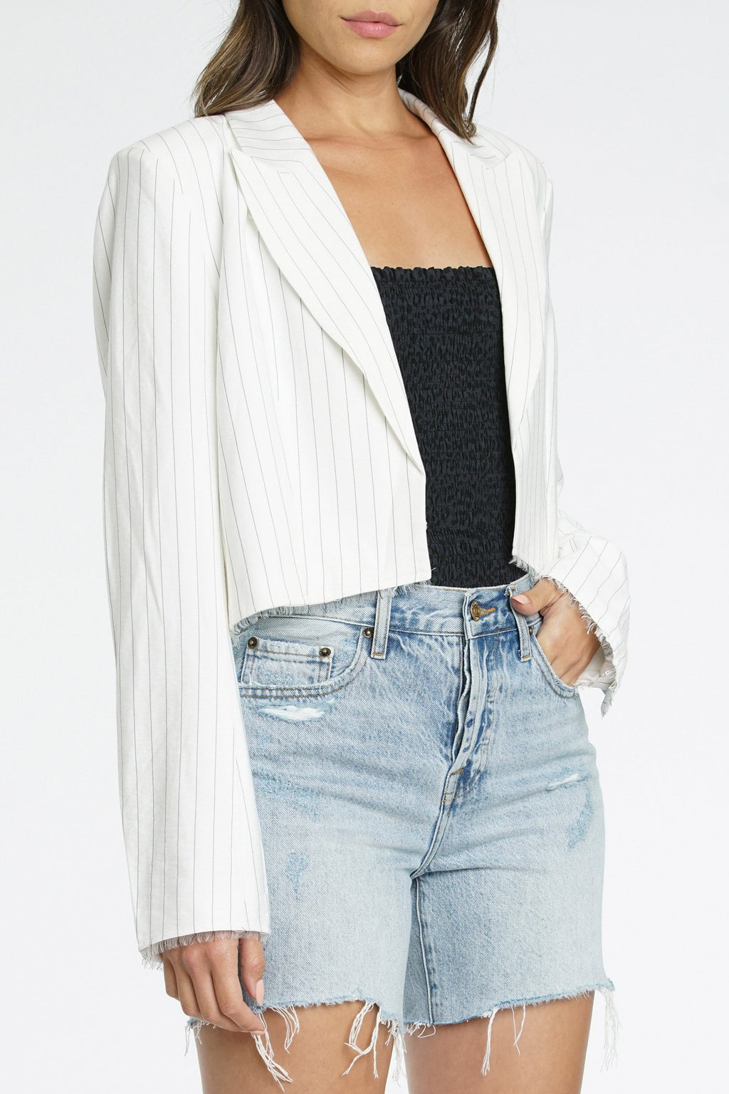 Amilia Raw Edge Cropped Blazer
