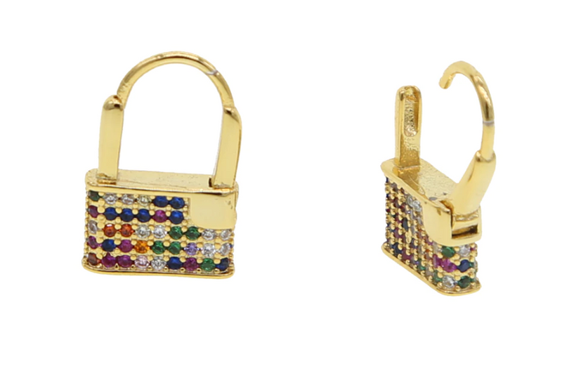 Rainbow Padlock CZ Earrings