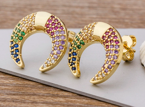 Rainbow Horseshoe Stud Earrings