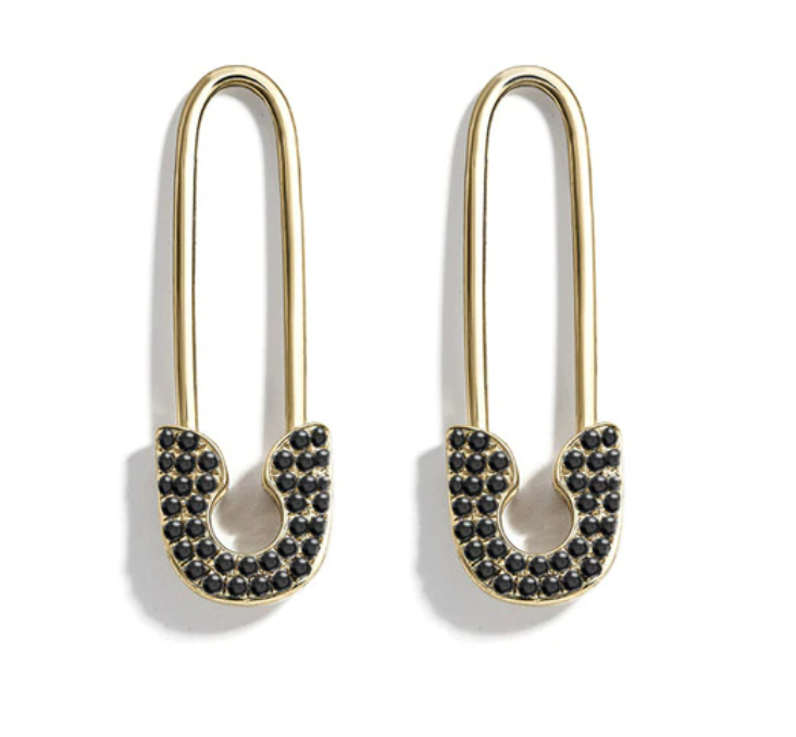 Rhinestone Safety Pin Earrings
