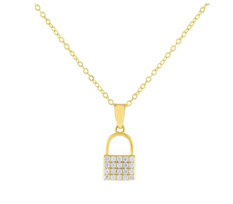 Cora CZ Lock Necklace