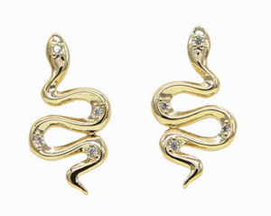 Snake Stud CZ Earrings