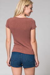 Ribbed Lace Up Top - BIRD BEE - 2