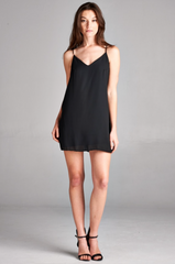 Solid Black Mini Dress - BIRD BEE - 1