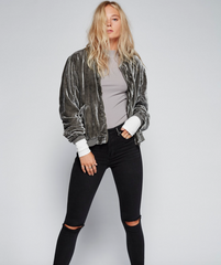 Ruched Velvet Bomber - Free People - BIRD BEE - 1