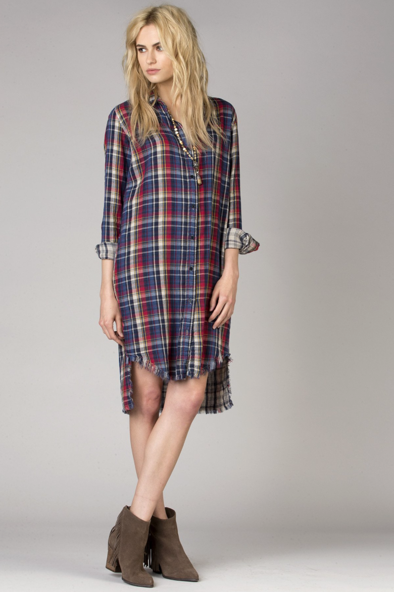 Open Road Plaid Shirt Dress - BIRD BEE - 1